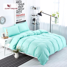 SlowDream Solid Color Green Bedding Set Bed Linen Nordic Japan Style Sheet Pillowcase Bedspread Double Duvet Cover