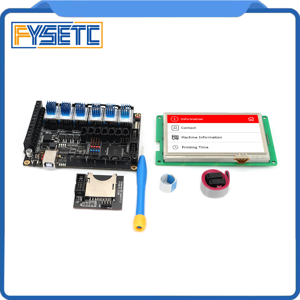 "FYSETC F6 V1.3 ALL in one Mainboard + 4.3"" Touch Screen + 6pcs TMC2100/TMC2208 /TMC2130 v1.2/DRV8825/S109/A4988/ST820-in 3D Printer Parts & Accessories from Computer & Office"