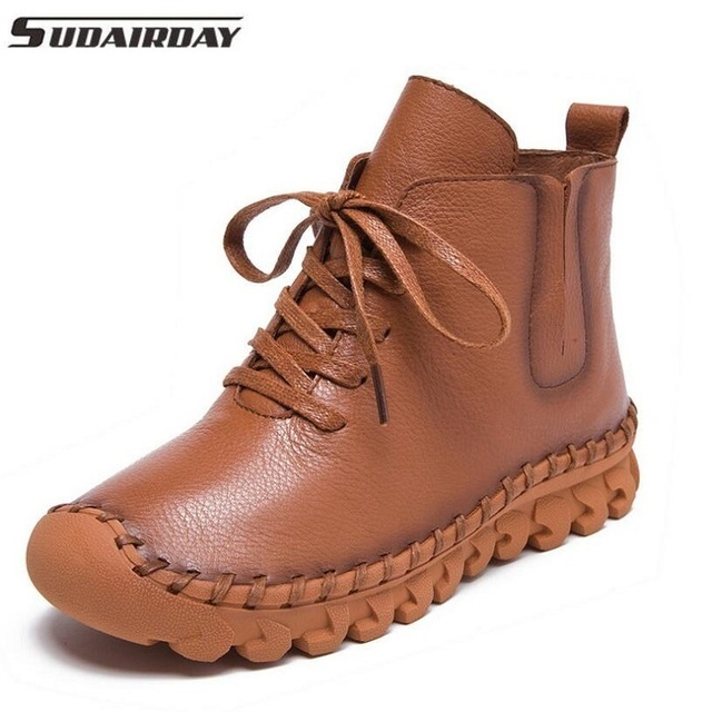 Fashion Women Genuine Leather Boots Handmade Flats Shoes