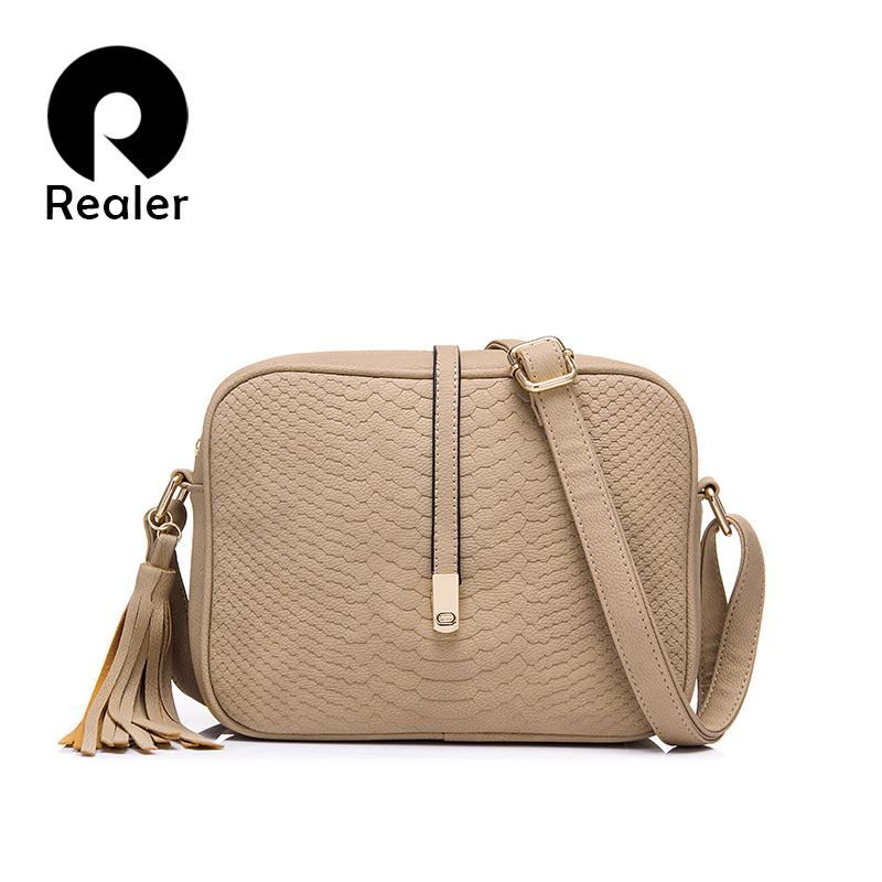 Prix pour Realer marque femmes bandoulière sacs pour femmes épaule messenger sacs crocodile motif cuir artificiel sac à main avec le gland