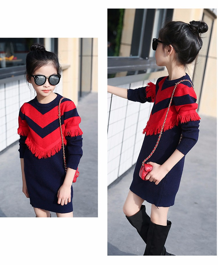 2017 new knitting tassels girls sweater spring autumn winter casual children school clothing preppy style knitted kids sweaters girls dresses 6 7 8 9 10 11 12 13 14 15 16 years old little teenage big girls long sweater dress (9)