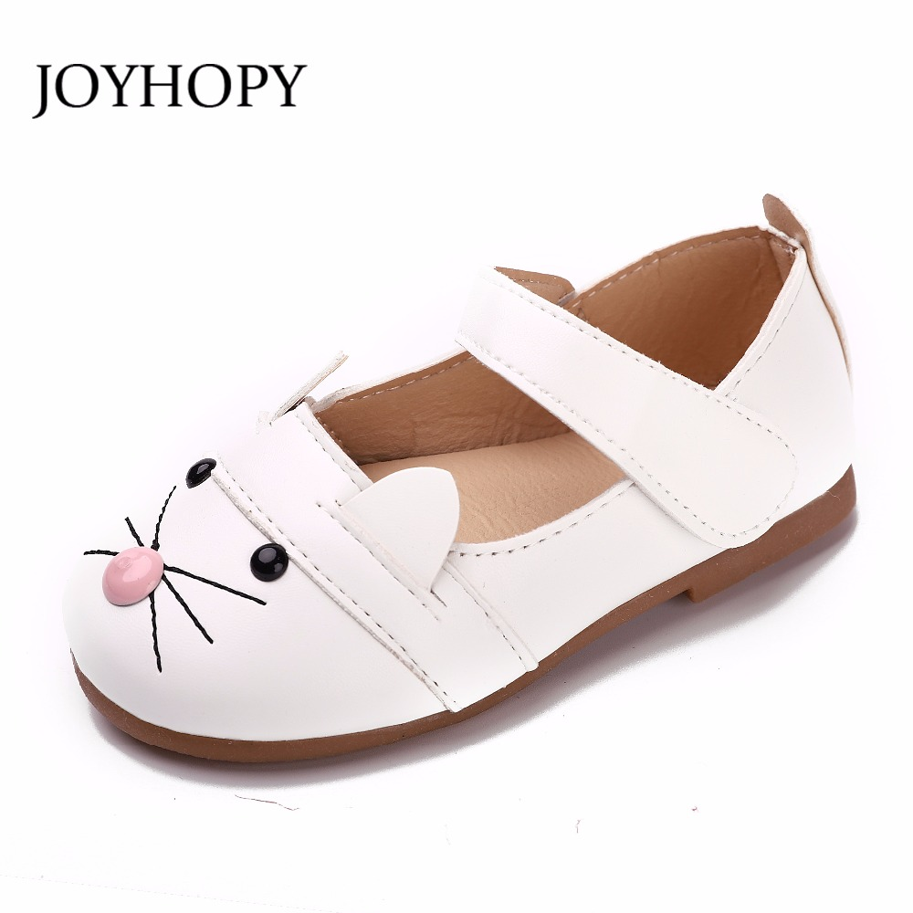 JOYHOPY Girls Princess Shoes Pink Cat Leather Girls Kids Shoes for Dance Party Princess Girl Single Shoes