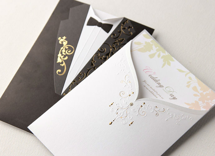 wholesale 50 sets formal dress bride groom wedding invitation card