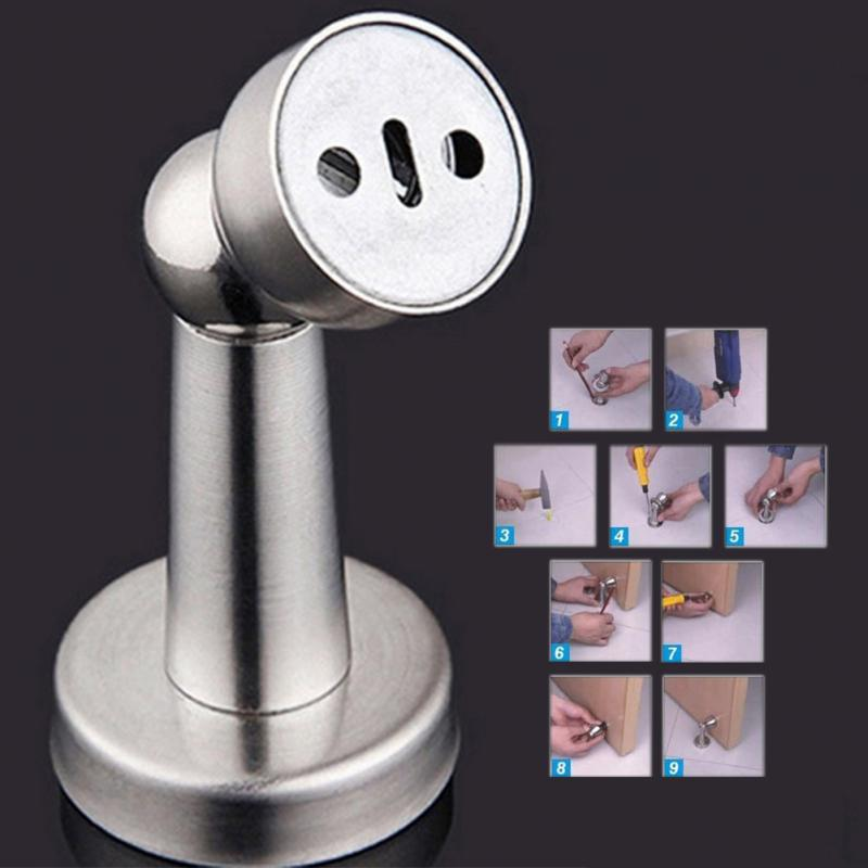 high quality stainless steel casting powerful adjustable floor wall mounted magnetic door stopper for bedroom home