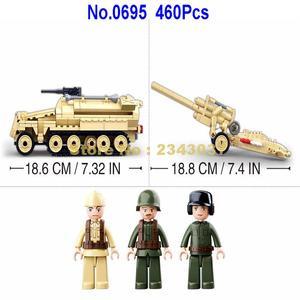 Image 3 - sluban 0695 460pcs military k18 105mm cannon artillery half track vehicle ww2 world war ii building blocks 3 figures Toy
