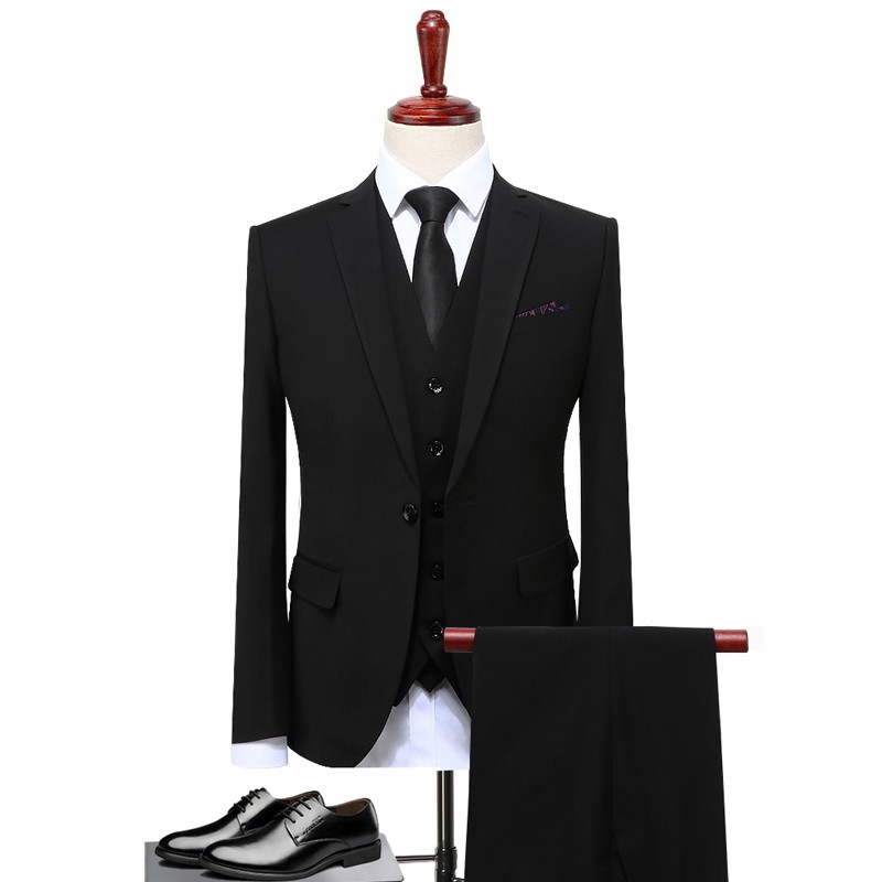 Classic Design Suit Men Black Gray Blue Slim Fit Business Casual Mens Suit Set Formal Wedding Clothing S-4XL(Jacket+Pant+Vest)