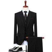 Classic Design Suit Men Black Gray Blue Slim Fit Business Casual Mens Suit Set Formal Wedding Clothing S 4XL(Jacket+Pant+Vest)