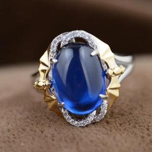 Image 3 - Gqtorch Blue Sapphire Ringen 925 Sterling Zilveren Sieraden Trendy Stijl Geel Vergulde Bagues Argent Femme