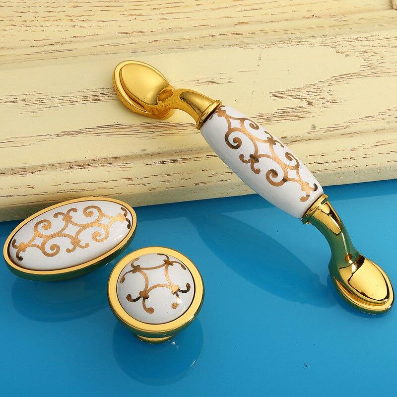 Gold Luxury Vintage Ceramic Door Handles Kitchen Cabinet Cupboard ...