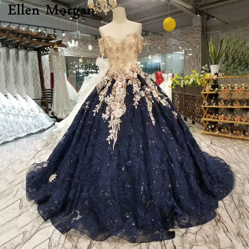Blue Wedding Gowns 2014: Navy Blue Lace Ball Gowns Wedding Dresses 2019 Lace Up
