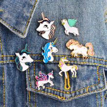 Cartoon Pegasus horse Alpaca Compilation Brooch Button Pins Denim clothes Pin Badge Cute Animal Jewelry Gift Surprise for Kids(China)