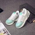 Сетки воздуха обувь женщина шнуровке суперзвезда туфли на платформе зеленый/серый/розовый теннис женщина для смешанных цветов швейные обувь износостойкие