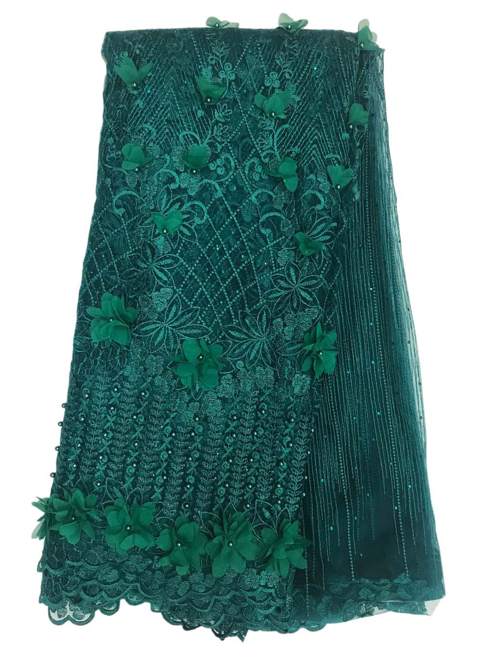 african lace fabric 3D beads cotton tulle nigeria