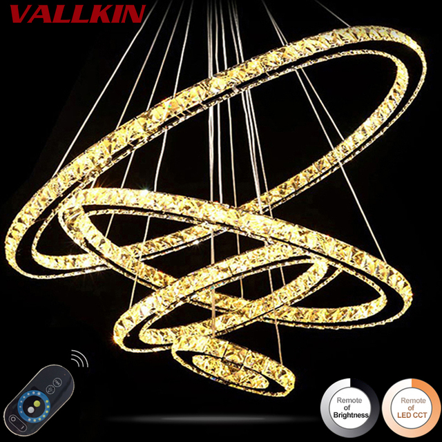 Dimmable LED Ring Crystal Chandeliers Pendant Lamps Modern Indoor Hanging Lamp Crystal Chandelier Pendants Fixtures with Remote
