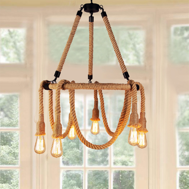 American loft industrial restaurant rope 6*E27 bulb chandelier DIY home deco living room iron retro hemp chandeliers lamp