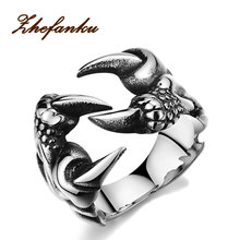 2017 New Rock Punk Male Biker Rings Stainless Steel Dragon Claw Rings For Men Vintage Gothic Jewelry Drop Shipping