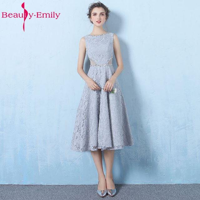 Schönheit Emily Grau Lace A linie Brautjungfernkleider 2017 Perlen ...