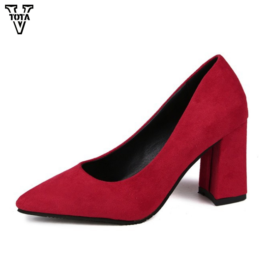 VTOTA Flock Pumps Women Shoes Party Pointed Toe Women Shoes High Heels Office & Career Shallow Footwear Women Pumps WNM burgundy gray saphire blue pink women dress party career work shoes flock shallow mouth stiletto thin high heel pumps