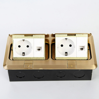 Brass 2 Gang Rectangle Pop Up Floor Socket Outlet Box with European sockets 250V 16A