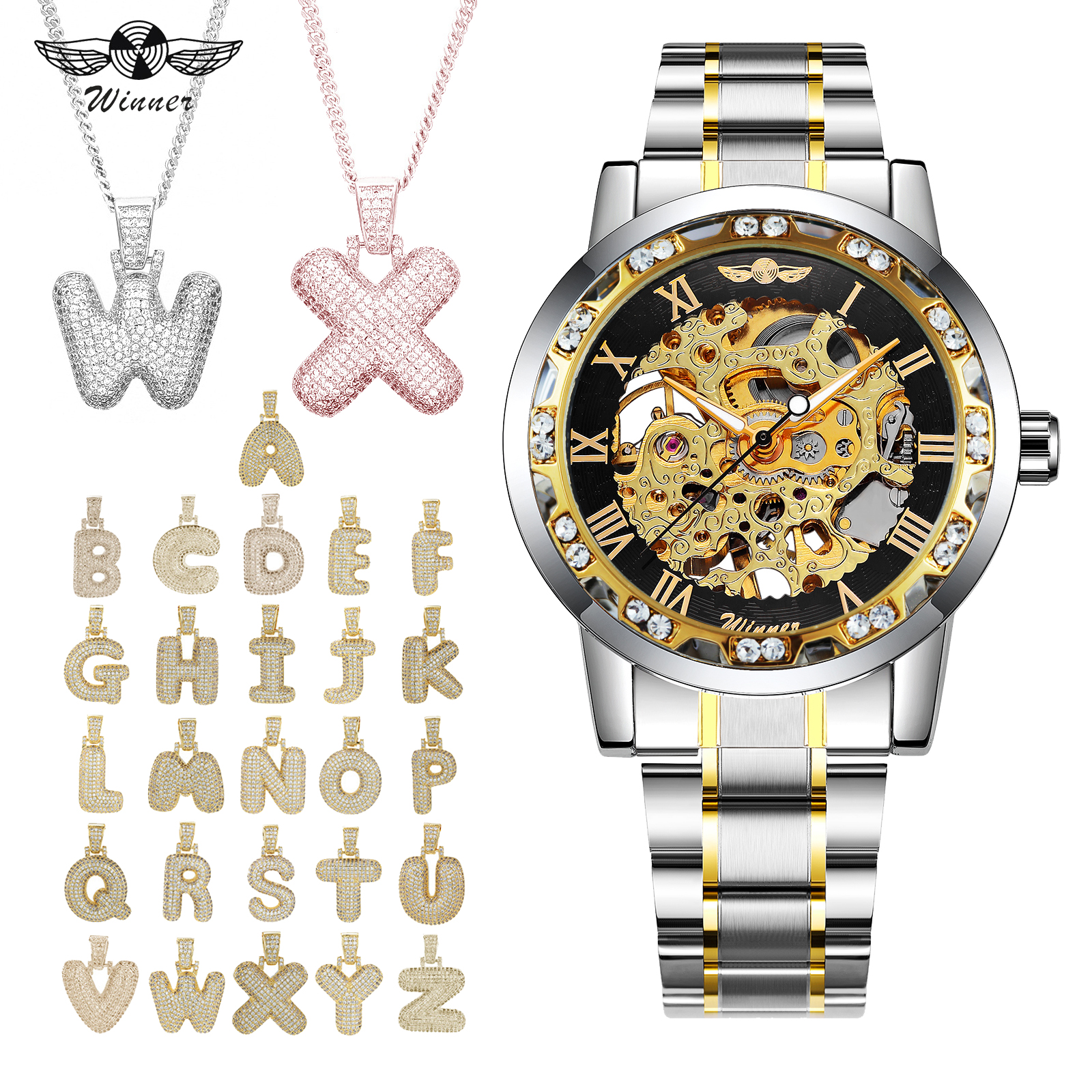 WINNER Mechanical Mens Watches Men Top Brand Luxury Steel Strap Hip Hop Punk Jewelry Set + 26 Alphabet Golden NecklaceWINNER Mechanical Mens Watches Men Top Brand Luxury Steel Strap Hip Hop Punk Jewelry Set + 26 Alphabet Golden Necklace