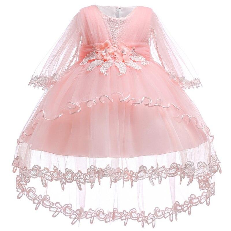 Infant Girls Summer Dresses 2018 Baby Children Dress Lace Tail Elegant Princess Dress Newborn Flower First Birthday Party Dress