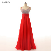 CAZDZY 47 Colors Long Party Dress Sweet Heart A Line Evening Dresses Beading Pleat Decoration Backless Chiffon 1 96