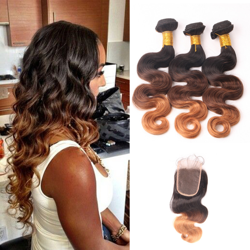 6A Unprocessed Brazilian Virgin Body Wave Hair With Closure 3pcs Ombre Brazilian Hair Weave Bundles And Closure Rosa Hair ZWP072 (2)