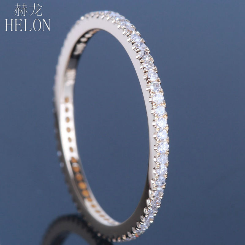 HELON Solid 14K Yellow Gold Stackable Pave Round Natural Diamonds Engagement Wedding Ring Trendy Women Fine Jewelry RingHELON Solid 14K Yellow Gold Stackable Pave Round Natural Diamonds Engagement Wedding Ring Trendy Women Fine Jewelry Ring