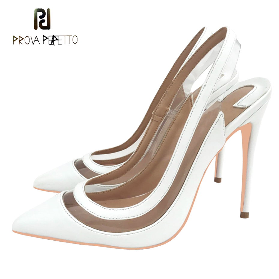 Prova Perfetto white leather pvc slingback high heels shoes women sexy pointed toe thin heel lady