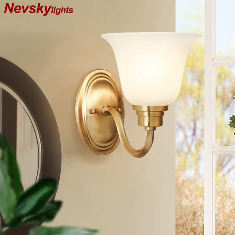 Classic copper Sconces Wall lamp for home glass arandela Wall led lights Modern Bedside Lamps for Bedroom wandlamp FixturesClassic copper Sconces Wall lamp for home glass arandela Wall led lights Modern Bedside Lamps for Bedroom wandlamp Fixtures
