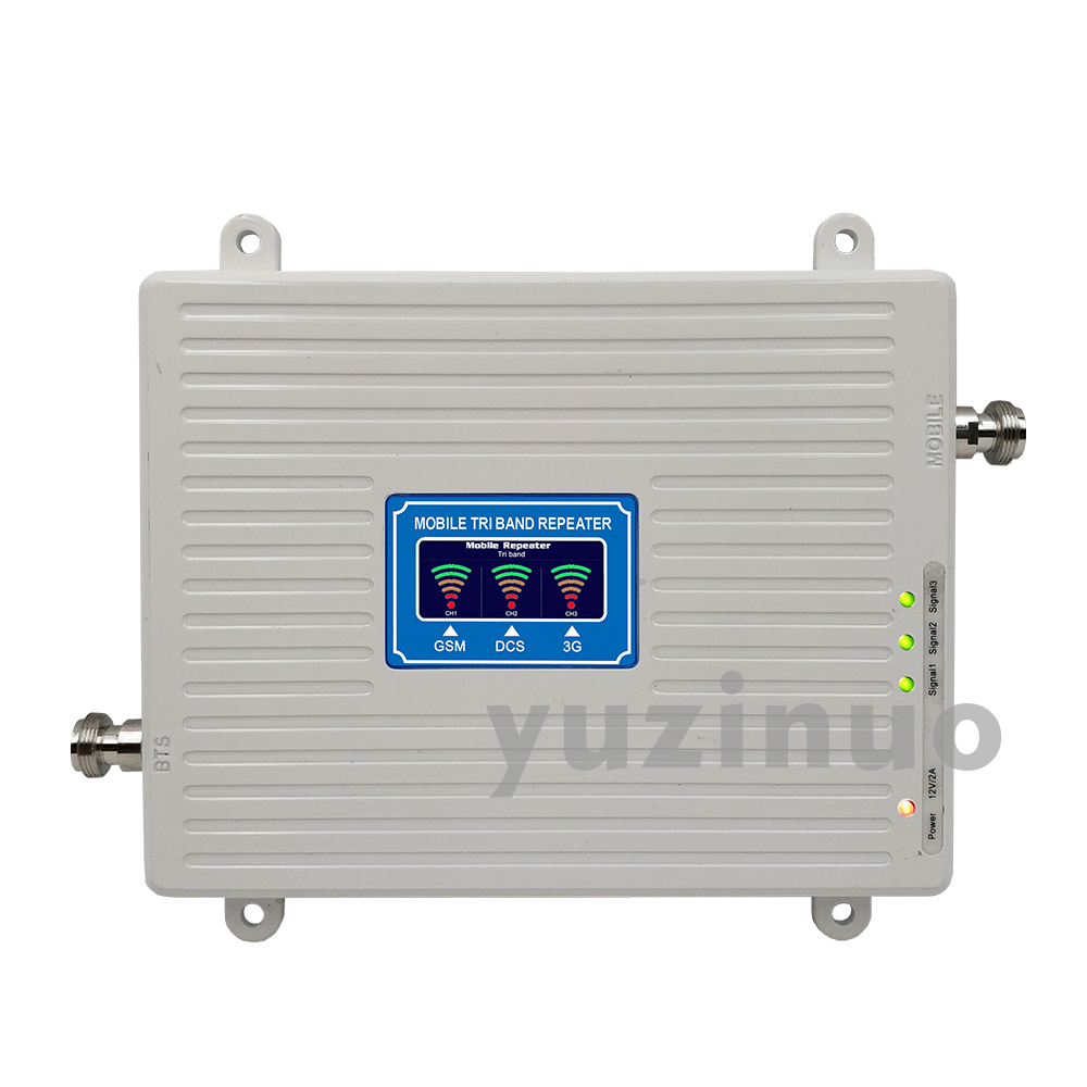 65dB Gain 2G 3G 4G Tri Band Booster GSM 900 DCS LTE 1800 WCDMA UMTS 2100 Mobile Signal Repeater 900 1800 2100 Cellular Amplifier in Signal Boosters from Cellphones Telecommunications
