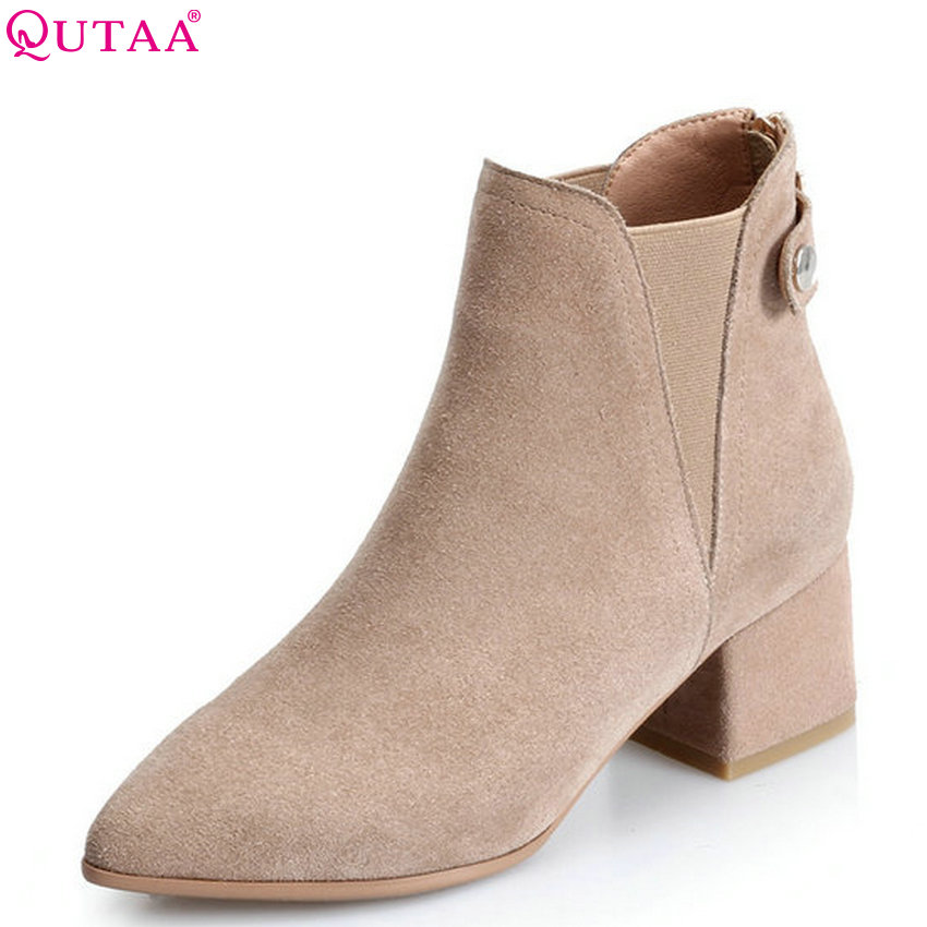 QUTAA 2018 Cow Suede Women Anke Boots Fashion Zipper Square High Heel Pointed Toe All Match Westrn Style Women Boots Size  34-39 qutaa 2017 women over the knee high boots all match pointed toe high quality thin high heel pointed toe women boots size 34 43