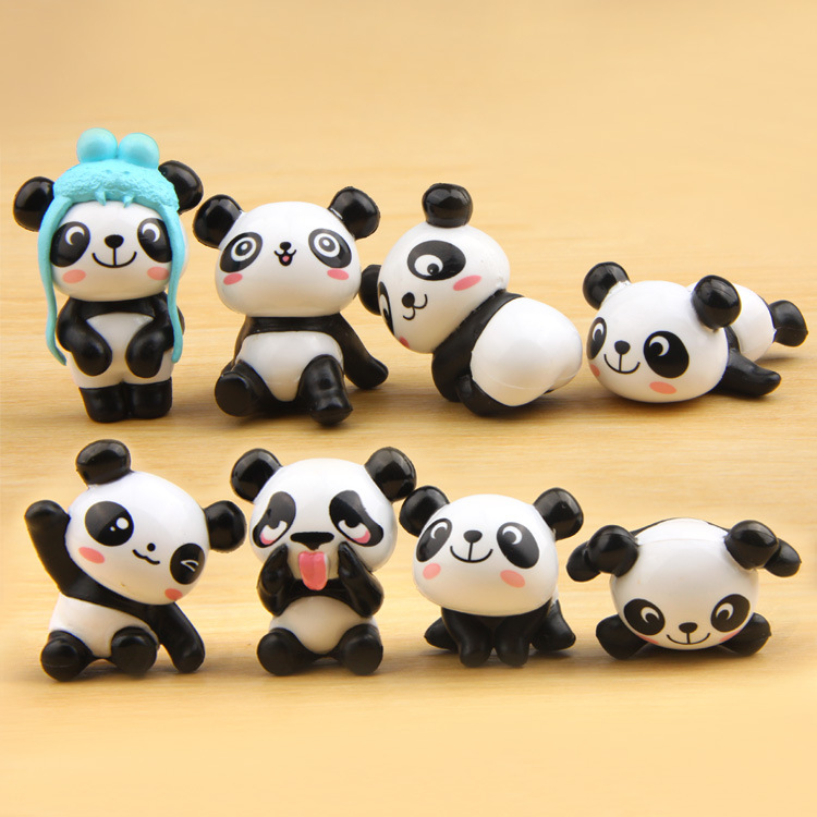 8pcs / lot Kawaii Panda Actionfigurer Rilakkuma Bear Mini PVC Modell Toy Brinquedos Landskap Djur Dolls Kids Birthday Gifts