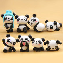 8pcs/lot Panda Kawaii Panda Action Figures Mini PVC Model Toy For Children Brinquedos Landscape Animals Doll Kids Birthday Gifts(China)