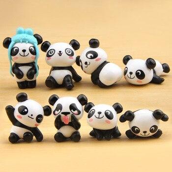 Lote de 8 unidades de figuras de acción de Panda, Panda, Mini modelo de PVC para niños, juguetes de animales para niños, regalos de cumpleaños