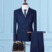 MarKyi fashion mens classic suits with double breasted 2017 brand slim fit casual male suits 3 pieces (jacket+pant+vest)