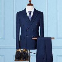 Markyi Модные мужские классические костюмы с двойной грудью 2017 Марка Slim Fit повседневные мужские костюмы 3 предмета в комплекте (куртка + брюки +