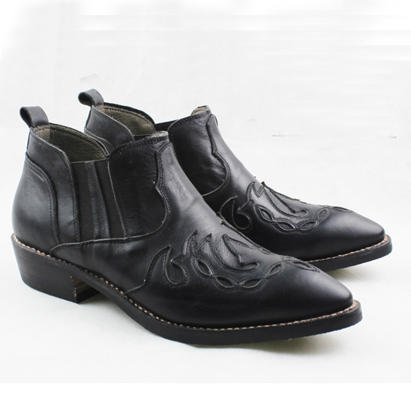 3.5cm Heels Men Leather Boots Pointed Sewing Black Cowhide Genuine Leather Work Boots Western Cowboy Ankle Boots Botas Hombre