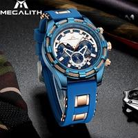 MEGALITH แฟชั่นส่องสว่าง Displ ผู้ชายนาฬิกาข้อมือสุดหรูนาฬิกาผู้ชายกันน้ำ Chronograph นาฬิกาข้อมือควอตซ์ Relogio Masculino-ใน นาฬิกาควอตซ์ จาก นาฬิกาข้อมือ บน