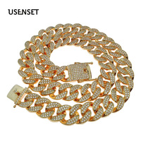 USENSET Hip Hop Bling Chains Jewelry Men Iced Out Chains Necklace Gold Color Miami Cuban Link Chains