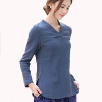 Blue Chinese Style Ladies Shirt Cotton Linen Women Blouse High Quality Long Sleeved Top Spring Autumn