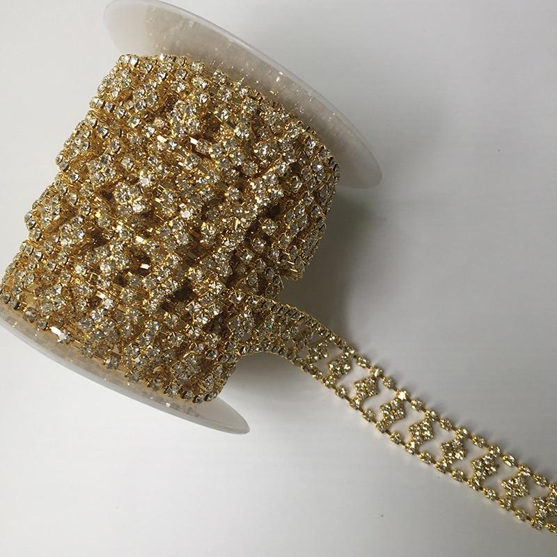 5Yards Glass Clear Crystal Rhinestone Trimming Bridal Trim Fashion Chain DIY Crafts Bulk Price