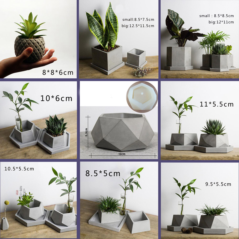 Many Geometric Pot Mold, Cement Pot Silicone Mold, Geometric Gypsum Concrete Pot Mold