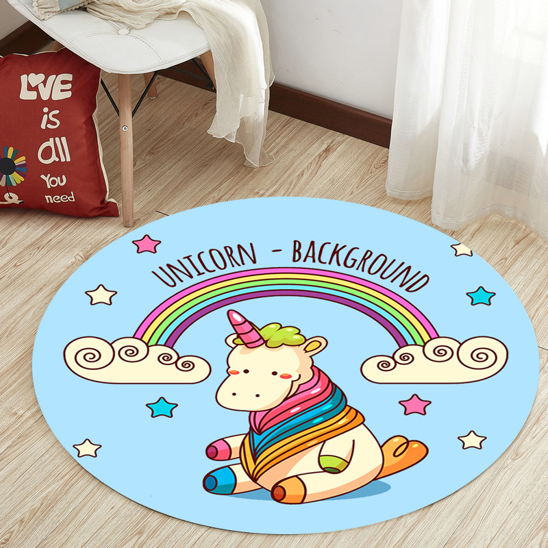 Nordic Unicorn Series Round Carpets for Living Room Area Rugs Computer Chair Floor Mat Child Cloakroom Rug Kids Tent Play Carpet