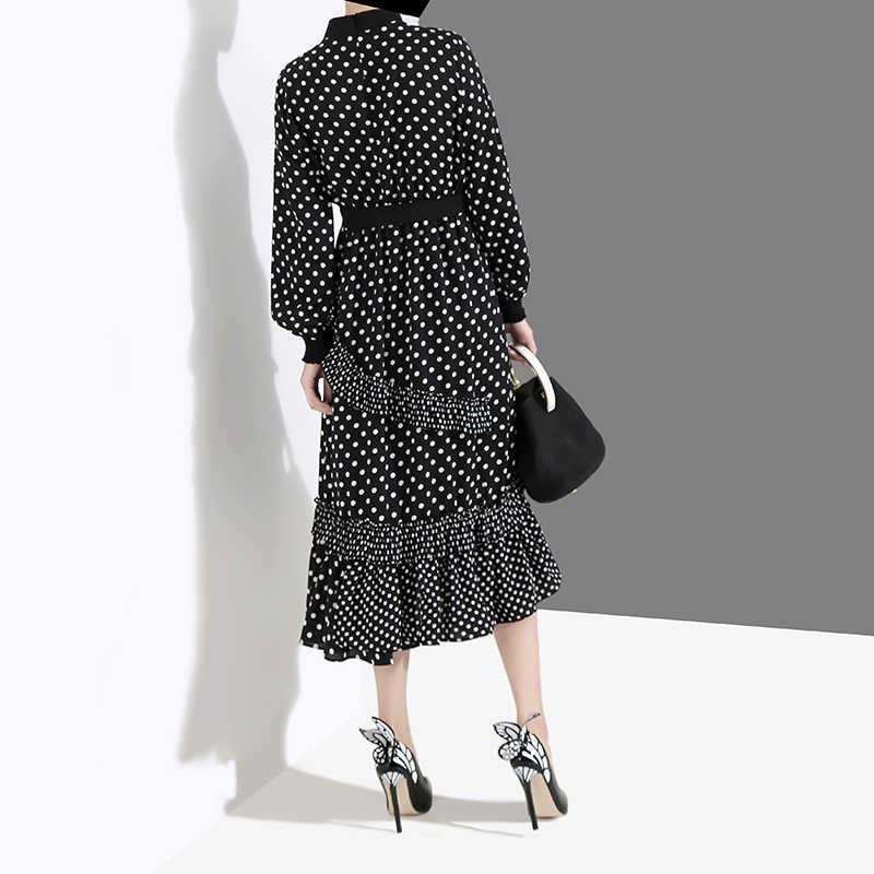 Женское платье с воротником-стойкой, черное элегантное длинное платье в горошек в корейском стиле, модель 4627, 2019
