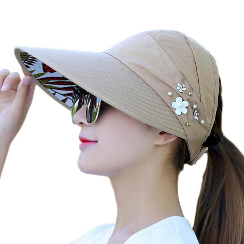 Summer Women Foldable Ponytail Sun Hat Wide Brim Beach Sun Hat Outdoor Cap  Floral New Hot Fashion Sun Hat 14a0325cffe