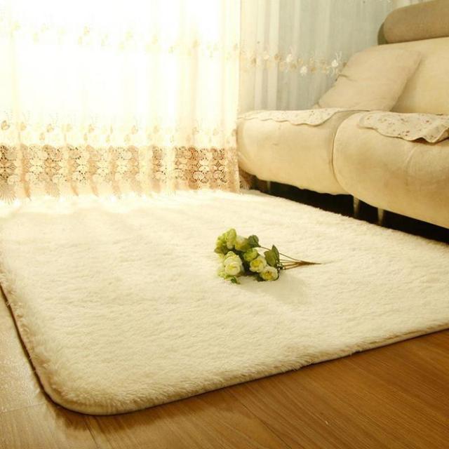 Teppiche Für Wohnzimmer Shaggy Elfenbein Wolle Teppich Anti Skid - Teppichboden fur schlafzimmer