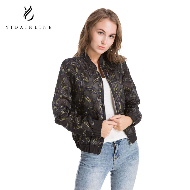 Lace Sleeve Women Basic Coats Long Sleeve Lace Patchwork Transparent Zipper Casual Slim Jacket Coat Bomber Jacket Outwear