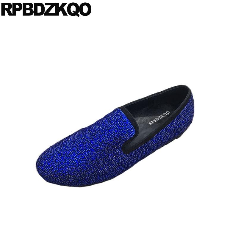 Camurça Preto Marca 11 Grande De Loafers Sapatos Deslizamento Na Decolagem Novos Strass Europeu 2018 Couro Pista Tamanho Apartamentos Moda Real Azul 46 Homens Clube gtA5AqPw