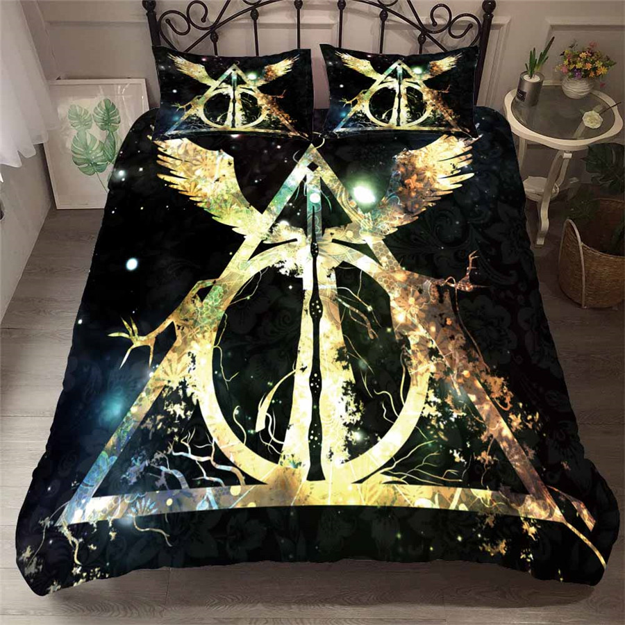 HELENGILI 3D Bedding Set Harry Potter Print Duvet Cover Set Bedcloth with Pillowcase Bed Set Home Textiles #HLBT-33(China)